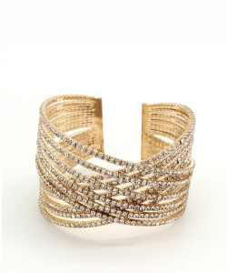 Criss Cross Rhinestone Bracelet BS300055 GOLD CL
