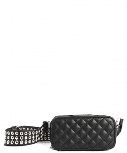 Modern Stitched Checker Design Fanny Pack Crossbody Bag BT-0148 BLACK