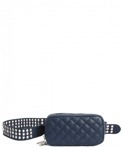 Modern Stitched Checker Design Fanny Pack Crossbody Bag BT-0148 NAVY