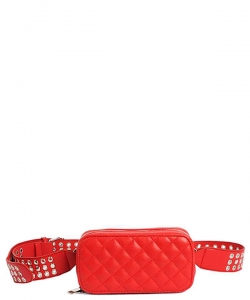 Modern Stitched Checker Design Fanny Pack Crossbody Bag BT-0148 RED