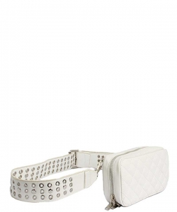 Modern Stitched Checker Design Fanny Pack Crossbody Bag BT-0148 WHITE