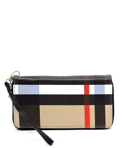 Plaid Check Printed Zip Around Wallet Wristlet BT020 BLACK