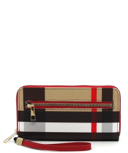 Plaid Check Accordion Card Holder Wallet Wristlet RED