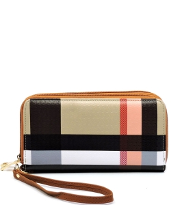 Plaid Check Zip Around Wallet Wristlet BT028 Tan