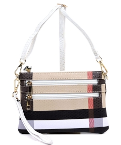 Plaid Check Zip Crossbody Clutch Bag Wristlet BT2581 WHITE