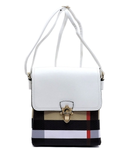 Plaid Check Print Flap Crossbody Bag  BT2592 WHITE