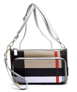 Plaid Check Print Front Pocket Clutch Crossbody Bag  BT2594 WHITE