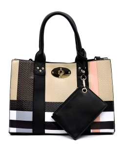 Plaid Check 3-in-1 Box Satchel Crossbody Set BT2661 BLACK