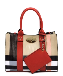 Plaid Check 3-in-1 Box Satchel Crossbody Set BT2661 RED