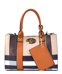 Plaid Check 3-in-1 Box Satchel Crossbody Set BT2661 TAN