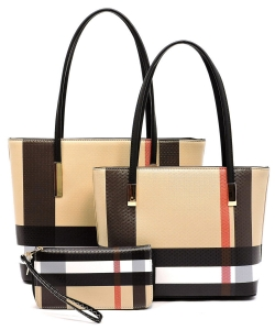 Check 3-in-1 Tote Faux Vegan Leather BT2669 BLACK