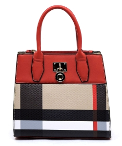 Plaid Check Padlock 2-in-1 Satchel BT2687 RED
