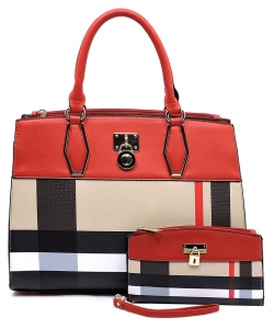 Plaid Check Print Padlock 2-in-1 Satchel BT2690 RED
