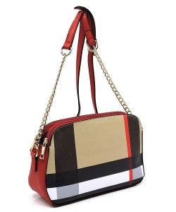 Plaid Check Print Multi Compartment Dome Crossbody Bag BT2702 RED