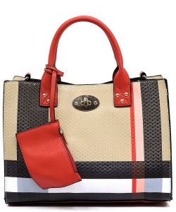 Plaid Check Printed 3-in-1 Satchel Bag BT2703 RED