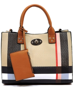 Plaid Check Printed 3-in-1 Satchel Bag BT2703 TAN