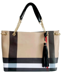 Plaid Check Print Tassel Tote Bag BT2741 Black
