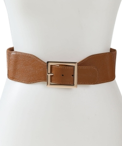 Square Buckle Fashion Stretch Belt BT320046 CAMEL