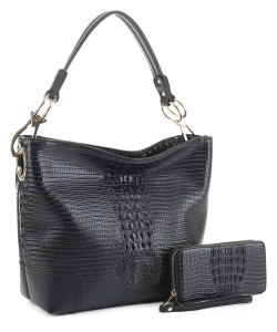 Crocodile Skin Hobo Handbag BW-1470A BLACK