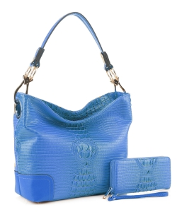 Crocodile Skin Hobo Handbag BW-1470A BLUE