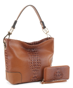 Crocodile Skin Hobo Handbag BW-1470A BROWN