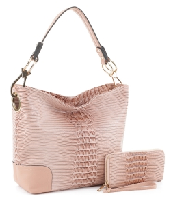 Crocodile Skin Hobo Handbag BW-1470A BLUSH