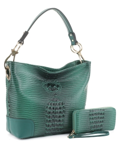 Crocodile Skin Hobo Handbag BW-1470A GREEN