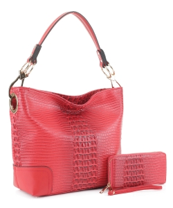 Crocodile Skin Hobo Handbag BW-1470A RED