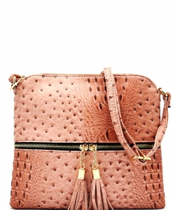 Ostrich Tassel Zipper Puller Accent  Cross Body Bag BW2309C BLUSH