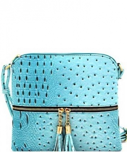 Ostrich Tassel Zipper Puller Accent  Cross Body Bag BW2309C BLUE