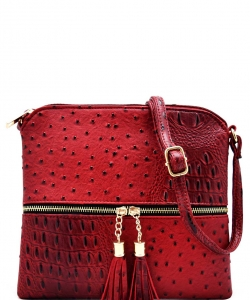 Tassel Zipper Puller Accent  Cross Body Bag BW2309 RED