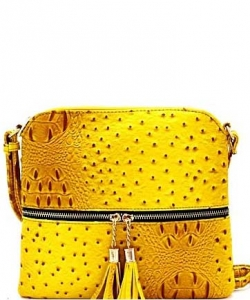 Ostrich Tassel Zipper Puller Accent  Cross Body Bag BW2309C YELLOW