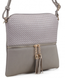 Tassel Zipper Puller Accent  Cross Body Bag BW2309C GREY