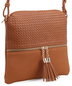 Tassel Zipper Puller Accent  Cross Body Bag BW2309C LBROWN