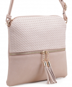Tassel Zipper Puller Accent  Cross Body Bag BW2309C LIGHT PINK