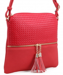 Tassel Zipper Puller Accent  Cross Body Bag BW2309C RED