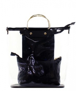 Fashion 2 in 1 Clear Handbag C1087 BLACK