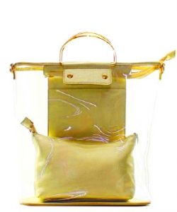 Fashion 2 in 1 Clear Handbag C1087 MUSTARD