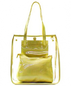 Fashion 2 in 1 Clear Handbag C1089 MUSTARD