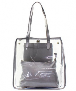 Fashion 2 in 1 Clear Handbag C1089 PEWTER
