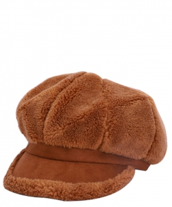 Fur Newsboy Winter Hat CAP00484 BROWN