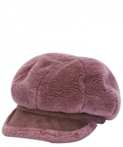 Fur Newsboy Winter Hat CAP00484 MAUVE