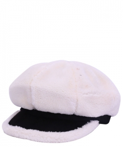 Fur Newsboy Winter Hat CAP00484 WHITE