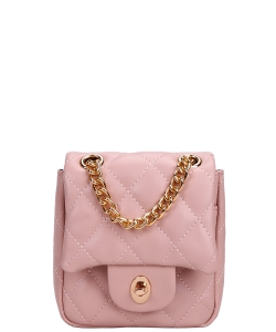 Twisl- Lock Quilted Chain Crossbody Bag CC-8587 PINK