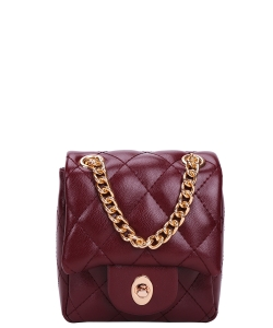 Twisl- Lock Quilted Chain Crossbody Bag CC-8587 RED
