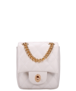 Twisl- Lock Quilted Chain Crossbody Bag CC-8587 WHITE