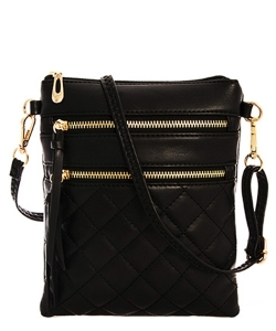 Quilted Crossbody Messenger Bag  CC6051N BLACK