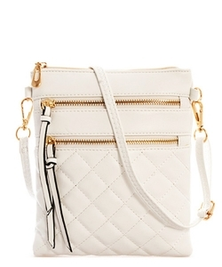 Quilted Crossbody Messenger Bag  CC6051N  White