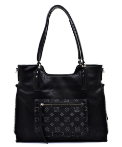 Monogrammed Whipstitch Pocket Satchel CD2740 BLACK