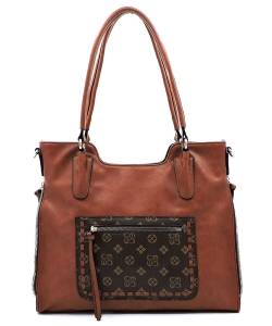 Monogrammed Whipstitch Pocket Satchel CD2740 TAN